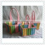 2013 woven storage household essentials paper rope basket in colorful (set of 3)
