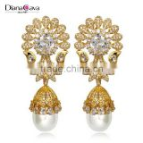 Brilliant Quality Big Style Flower Fake Pearl Jewellery Bohemian Cubic Zirconia Earrings