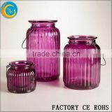 Purple Glass Candle Holder / Glass Jar / Glass Bottle With Hanger /Glass Bowl For Garden & Out Door Decor