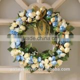Custom simulation wreath door decoration pendant married the wedding floristry villa home decoration car wedding decoration blue