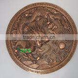 Bronze dragon round relief statue