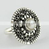 Love Power !! Bezel Setting Pearl 925 Sterling Silver Ring, Handmade Silver Jewellery, Silver Jewellery Wholesaler