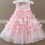 Newest kids long dresses flower maxi dress for girls sleeveless children boutique ball gown