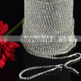 Sparly silver crystal rhinestone cup chain trimming strass rhinestone rolls ss6 to ss38,rhinestone cup chain trimming rolls