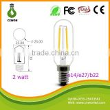 2015 latest product filament led bulb 2w T25 110V 240V 2700K 6000K Double filament light bulbs
