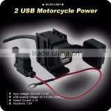 GoldRunhui D0301 Motorcycle Waterproof Dual USB Charger With Cigar Socket With Switch Button 2.1A