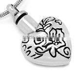 Truthkobo Fashion Cremation Jewelry Sets 316l Stainless Steel Silver Engraving Black Enamel Hear Shape Urn Pendant for Babies