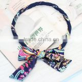 fashion new design floral printed large hair bow stripe hair band headband for long hair