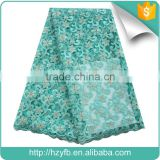 High quality french lace fabric / teal yellow cheap lace dubai with stones / lace tulle for wedding