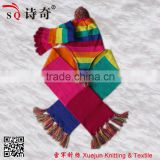High quality rainbow color hat scarf mitten stripe knit set