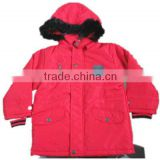 red hooded boys winter jacket