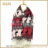 New coming deer print animal bohemian acrylic knitted multicolor scarf