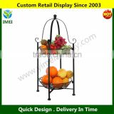 2 Tier Freestanding Decorative Black Scrollwork Design Metal Fruit / Pastry Basket Wire Shelf Rack Stand YM5-1164