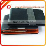 Promotional credit card holder PU money clip Functional PU leather stainless steel money clip