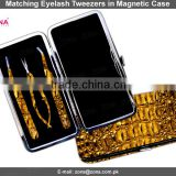 Eyelash Extension Tweezers In Crocodile Magnetic Case / Get Customized Designed Lashes Kits From ZONA PAKISTAN
