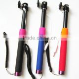 2015 New coming Cable take pole,charge free handheld monopod selfie stick wired monopod