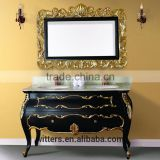 WTS-1477 modern special double sinks Floating drawers bathroom vanity with gold leaf in black