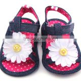 XIAOLIUBAO Beautiful flower design denim material soft sole baby girl sandals shoes