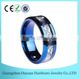 8MM Blue Tungsten Carbide Ring, Tungsten Carbide Ring with Blue Carbon Fiber, New Fashion Celtic Tungsten Carbide Ring