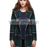 Guangzhou Women coats Manufacturer Women's Plaid Fleece Long Sleeve Trench Lapels Knitted Wool Coats Outerwear