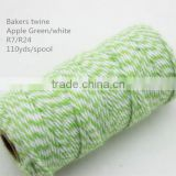 Apple green &white cotton baker twine packing twine,baker twine gift wrap string fabric gift twine bakers twine