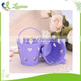 Colorful round heart shape hollow out decorative party mini galvanized metal buckets for wedding centerpiece