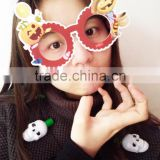 Halloween party safety plastic paper handmade fancy funny toy fake lensless kids childreen glasses