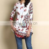 New Arrivals Women Tops With White And Red Peacock Split Hem Tunic Women Blouse Women Clothing GD90426-25