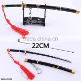 Cosplay Anime Pendant Keychain One Piece Zoro Black Color Sword Japanese Anime Weapon 22CM