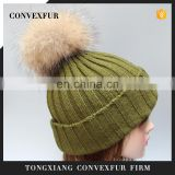 Winter acrylic women knit hats raccoon fur ball hats fur pompon hats lady beanies
