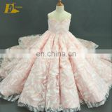 Real Pictures Ball Gown Ivory Fur Pink Long Flower Girl Dress
