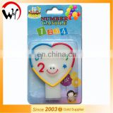 EN71 hot sale baby birthday fancy magic heart number 2 candle