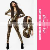 Dropship Wholesale Cheap Newest Women Sexy Leopard Latex Catsuit