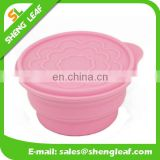 easy-cleaning collapsible silicone bowl with cover