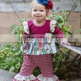 wholesale cute Toddler boutique outfit baby set elephant print hot ruffle pants outfits