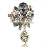 Luxury jewelry black big rhinestone brooch wholesale