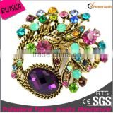 Big Purple Glass Stone For Colorful Rhinestone Alloy Brooch In Bulk