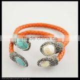 LFD-B0023 Wholesale Popular Turquoise Stone & Pearl Pave Rhinestone Crystal Orange Leather Cuff Bangles Bracelet Jewelry Finding