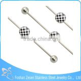 316L Surgical Steel Picture Inset Industrial Barbell Piercings Body Jewelry