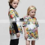 2015 fashion A line dress baby girls child dress printed short sleeve flower girl dress for 2-8 years girls