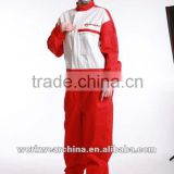 red workwear/red safety work coverall/65% polyester 35% cotton long sleeve safety coverall workwear with two front pocket