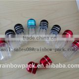 PET blue clear capsule bottle with aluminum foil cap/plastic capsule bottle for sex pill container/capsule bullet shell