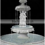 Female Figure Statue Stone Garden Water Marble Fountain