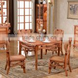 2015 China antique nature rattan malacca cane wood dinning room table chair furniture set                                                                         Quality Choice