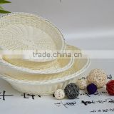 Natural <b>wicker</b> white round gift basket in supermarket