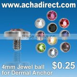 Imitation jewelry, jewelry ball for dermal anchor in assorted colors,price starts from US$0.25