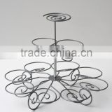 customized coated iron metal cup cake stand with 3 tier stand