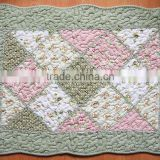 Vintage Floral Green Pink Patchwork Quilted Cotton Bedroom Bath Floor Mat Rug