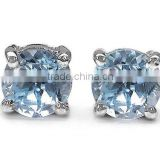 1.20ctw Genuine Blue Topaz Round .925 Sterling Silver Stud Earrings