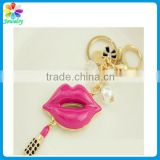 Enamel design diamonds pearls lip charm pendant for handbag hanger keyring lipstick keychain